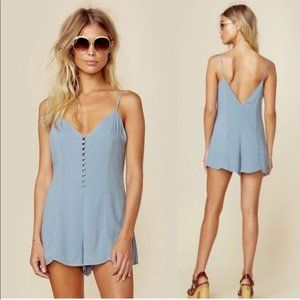 Lovers + Friends Sapphire Button-Front Romper